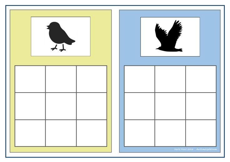 Board for the bird sorting game. Find the belonging tiles on Autismespektrum on Pinterest. By Autismespektrum