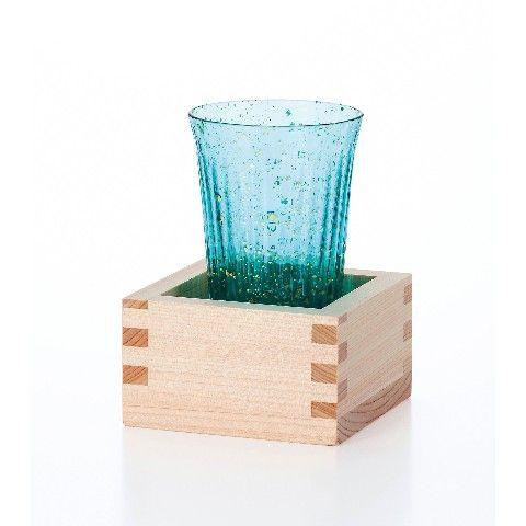 【津軽びいどろ】朧月夜-海-桝酒杯