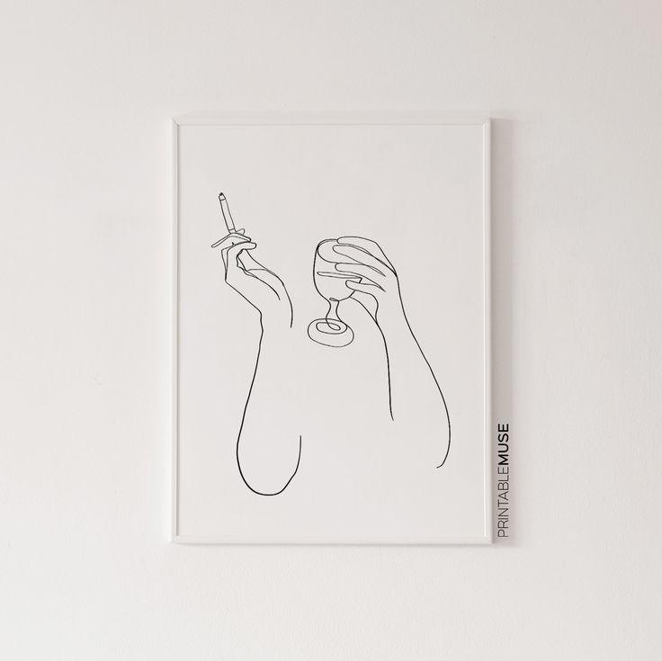 Wine Lover Bar Decor Gift, Smoking Wall Art Print, Single One Line Drawing Black And White Woman Art For Minimal Home – Printable Muse