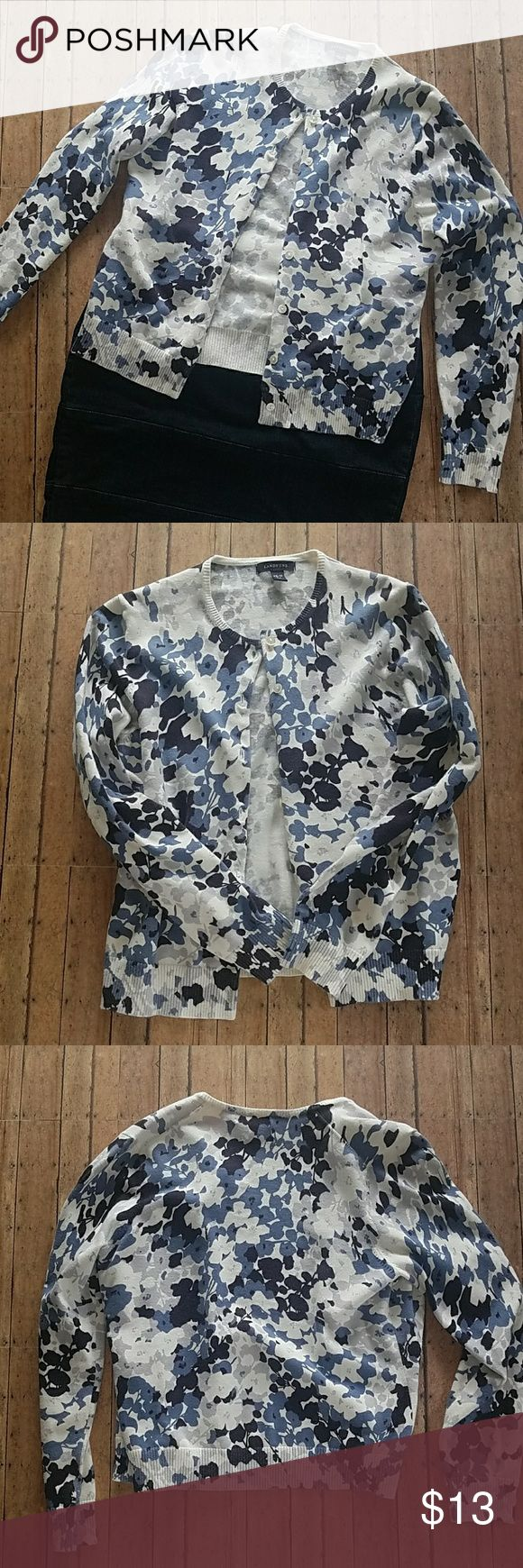 Lands End Floral Cardigan Beautiful blue, white, black & gray floral cardigan by Lands End. Long sleeve with a crew neck. I have paired it with a cute denim skirt that is also for sale in my closet. SMOKE FREE, PET FREE HOME NO TRADES, NO PAYPAL Lands' End Sweaters Cardigans
