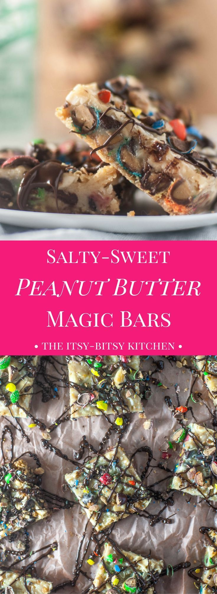 Packed with M&Ms and potato chips, these salty-sweet peanut butter magic bars are a delicious twist on the classic bar cookie!
