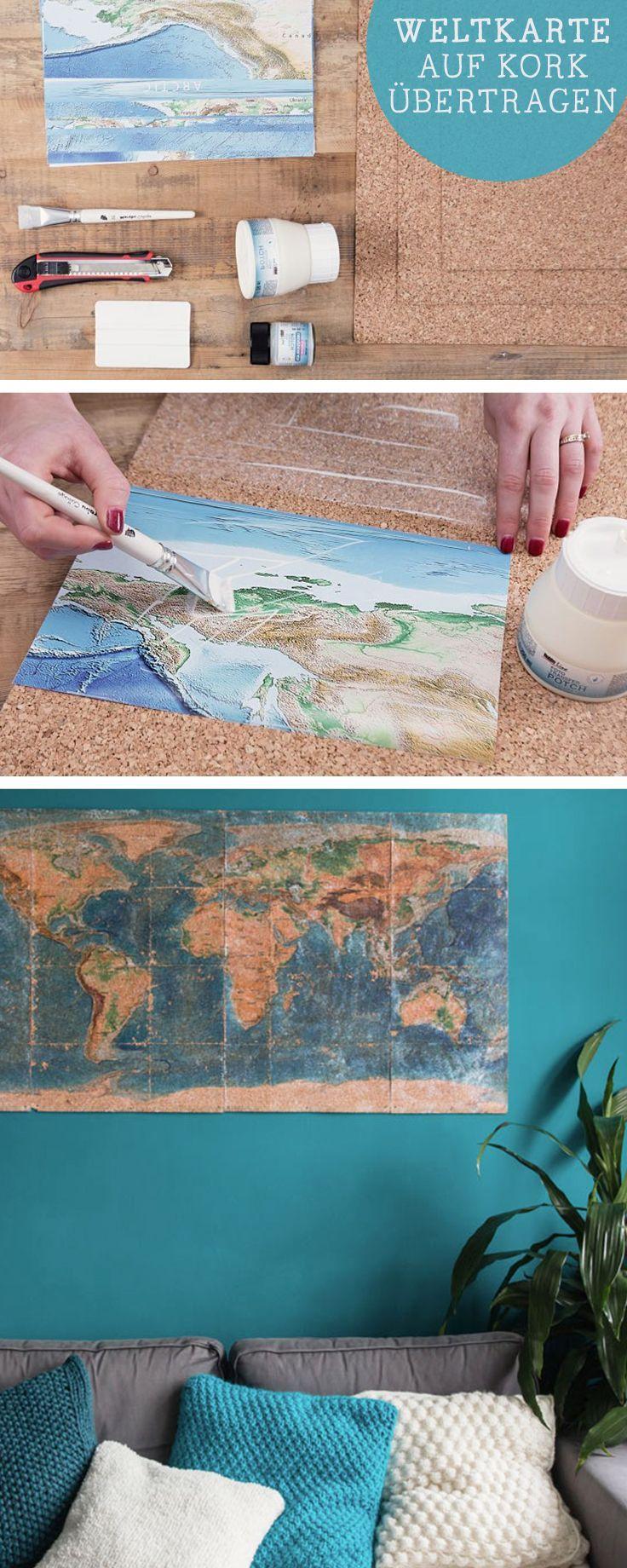 New DIY Anleitung f r selbstgemachte Wanddeko Weltkarte auf Kork bertragen diy tutorial world