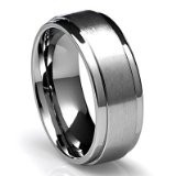 Men's Titanium Ring with Flat BRUSHED top and polished edges: 8Mm Men'S, Brushes Tops, Finish Edge, Titanium Rings, Edge Avail, Weddings, Flats Brushes, Polish Finish, Wedding Bands