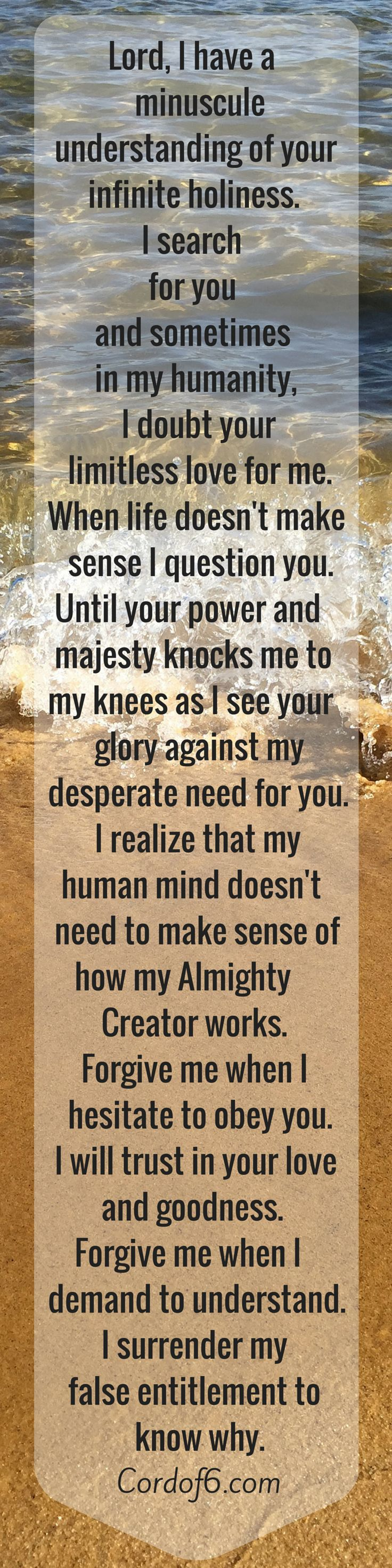 """Absolutely. My need to understand goes hand in hand with a lack of faith. """"Knowledge"""" becomes an idol. Forgive me Yeshua."""