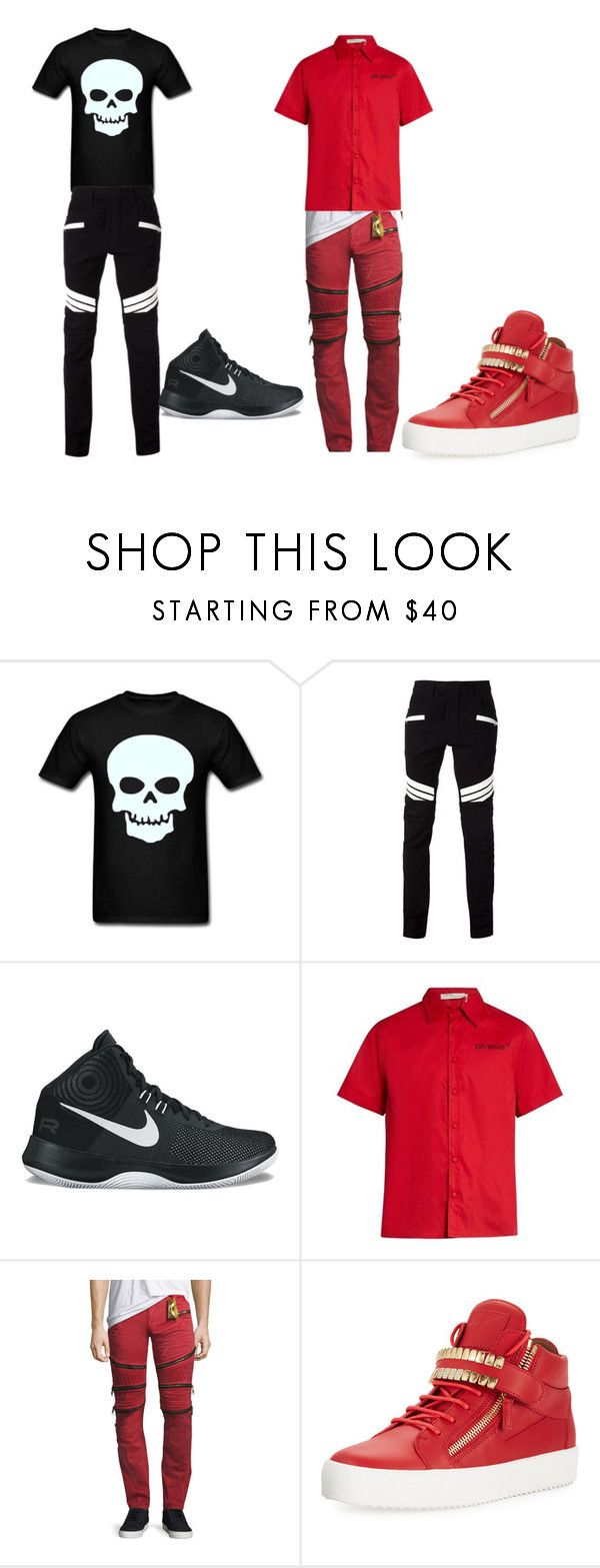 """This is me so please except me for who I am please except me"" by jdhv-1 ❤ liked on Polyvore featuring Balmain, NIKE, Off-White, Robin's Jean, Giuseppe Zanotti, men's fashion and menswear"