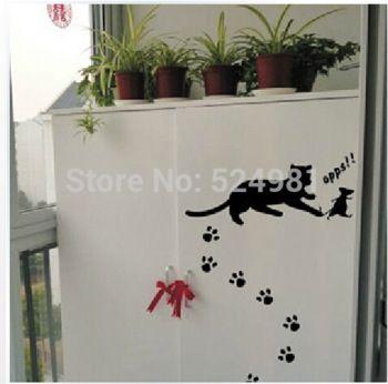Кот и мышь забавный холодильник наклейки стены наклейка