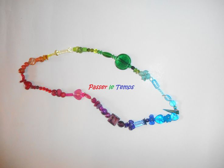Rainbow necklace with various beads (murano silverfoil, mother-of-pearl, coral, cloisone, ceramic, crystal plastic, wooden and glass beads)
