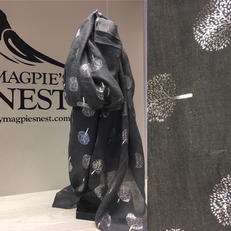 Grey foil tree print scarf available in store and online www.mymagpiesnest.com