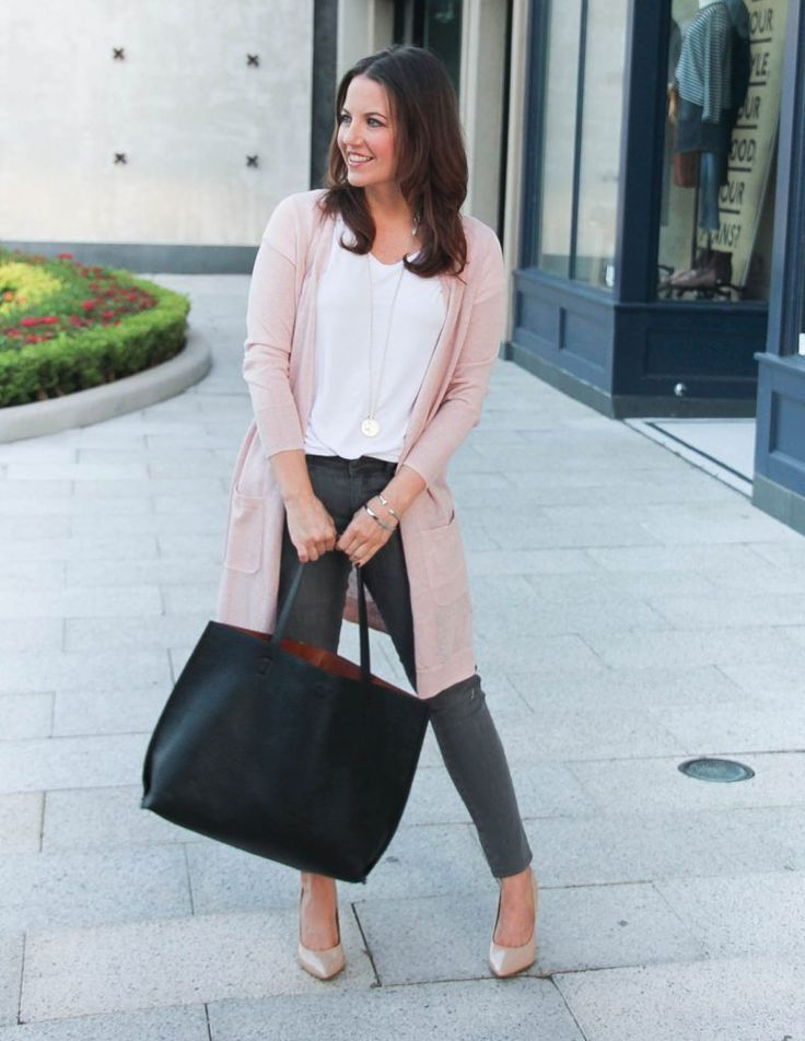Fall Outfit | Pink Cardigan Sweater | Gray Jeans | Lady in Violet | Houston Fashion Blog