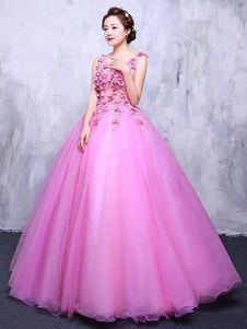 Vestido para quinceañeras Rosa púrpura con cuello en V sin mangas de encaje