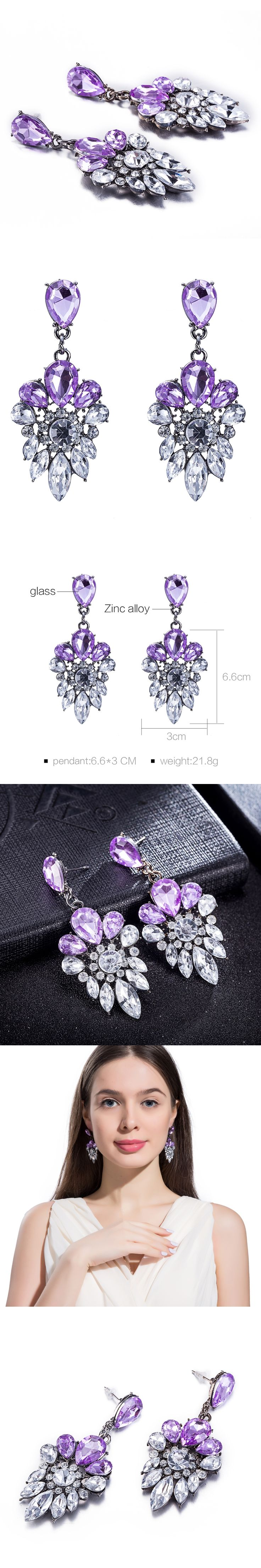 Fashion Bohemian Long Crystal Drop Earrings Fashion Statement Earrings Big Hanging Luxury Vintage Earrings For Women FSE043-A