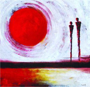 schilderij zonsondergang 100×100 « Woonhome.nl