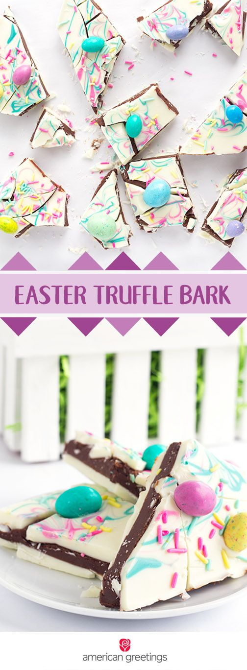 What a fun spring dessert recipe! This Easter Truffle Bark is quick, easy, and of course—delicious. Thanks to the white chocolate chips, milk chocolate chips, pink and turquoise candy melts, and pastel chocolate candies, you can bet that this sweet treat will be a hit with your friends and family. Feel free to gift these bites with a greeting card from from Target for a thoughtful present idea.