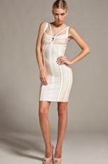 Cream, geometric, sexy dress.