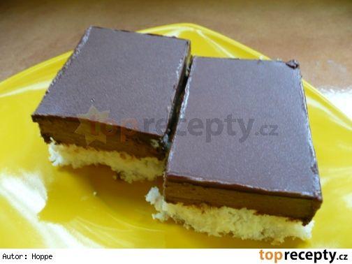 KOKOSOVÉ ŘEZY bezlepkové Těsto: 7 bílků 200 g kokosu 100 g rýžové hladké mouky 300 g moučkového cukru Krém: 7 žloutků 7 lžíc mléka 6 lžíc moučkového cukru 4 lžíce kakaa 375 g másla čokoládová poleva