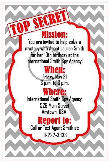 Digital Electronic File Personalized Custom Made to Order Spy Mystery Detective Themed Birthday Party Invitation Printable by MRMcrafts, $10.00