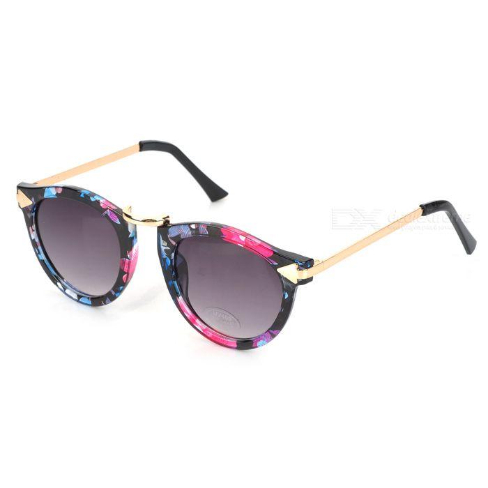LLG-235 Woman's Stylish Flower Patterned Frame UV400 Sunglasses - Black
