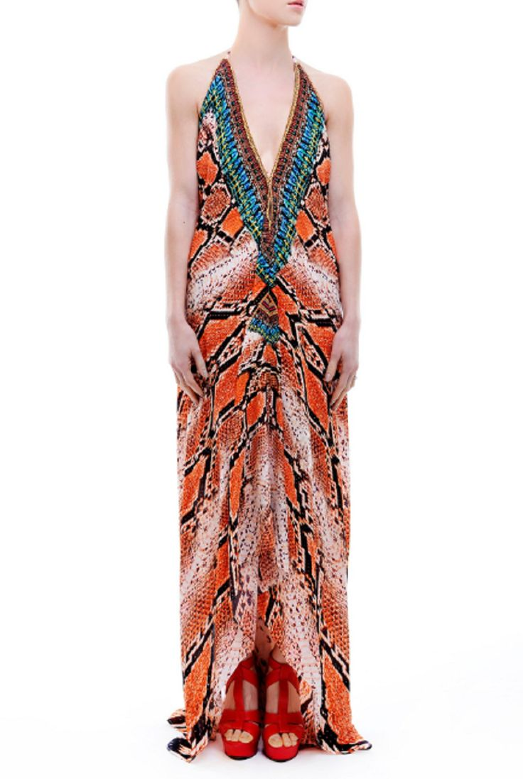 Parides Brown Python Print Maxi Dress
