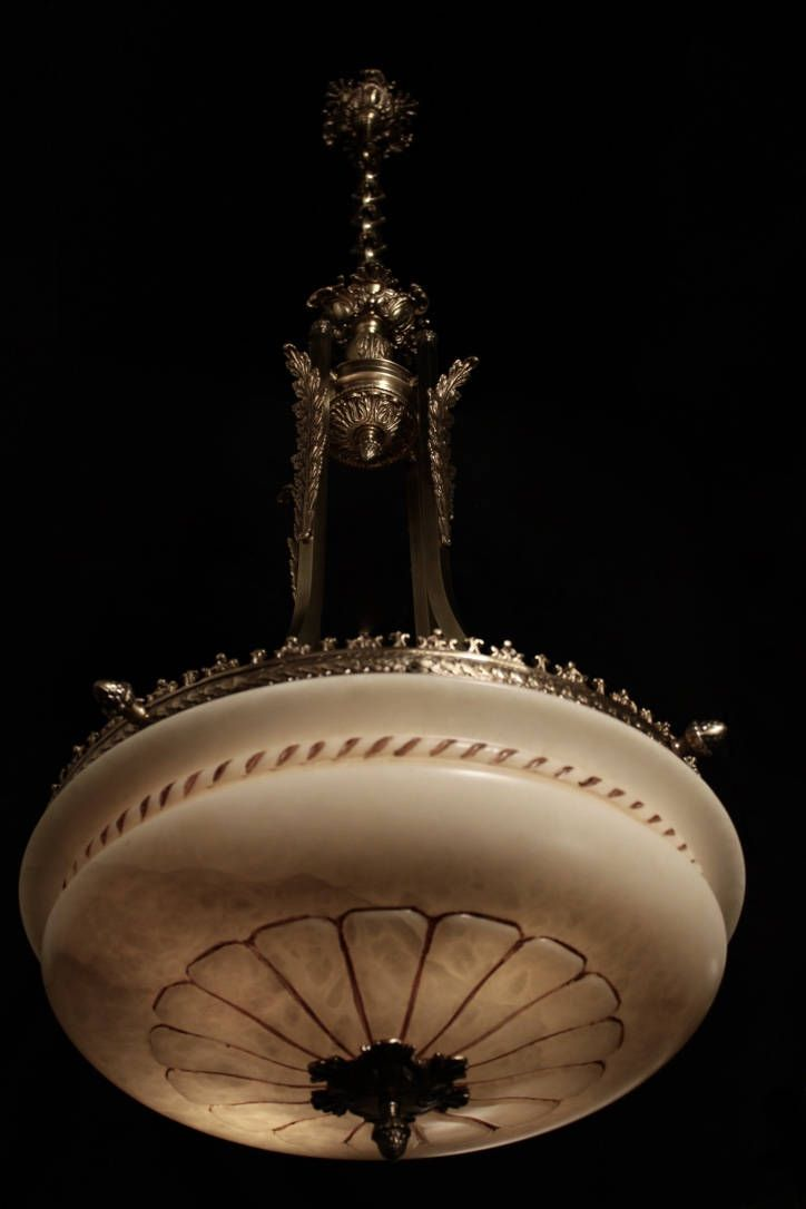 Pair of Pendant chandelier solid bronze and real alabaster by europeanlighting on Etsy
