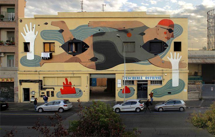 Mural by Agostino at the Via del Porto Fluviale, Rome