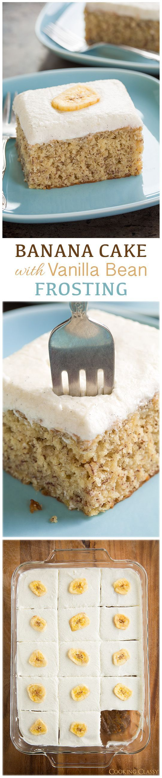 To Die For Banana Cake with Vanilla Bean Frosting - this cake is completely irresistible!! SO amazingly good! (Banana Cake)