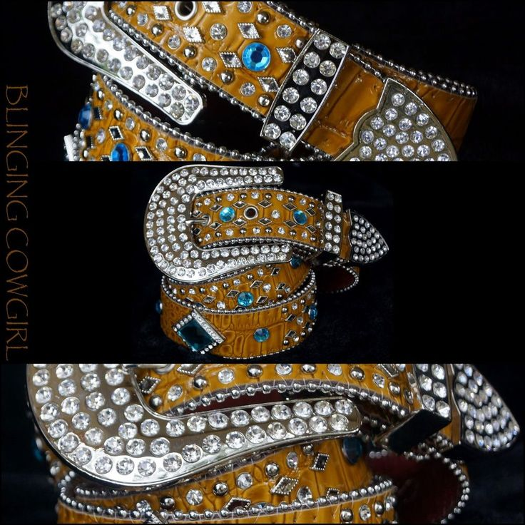 Ladies Western Leather Tan Bling Belt with Blue Conchos Silver Buckle S-M-L-XL