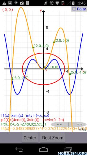 Graphing Calculator v3.9.1.3 (Paid)Requirements: 4.0.3 and up Overview: In addition to functions, this Graphing Calculator is capable of graphing parametric equations and point sets using the Cartesian or polar coordinate systems. In addition,...
