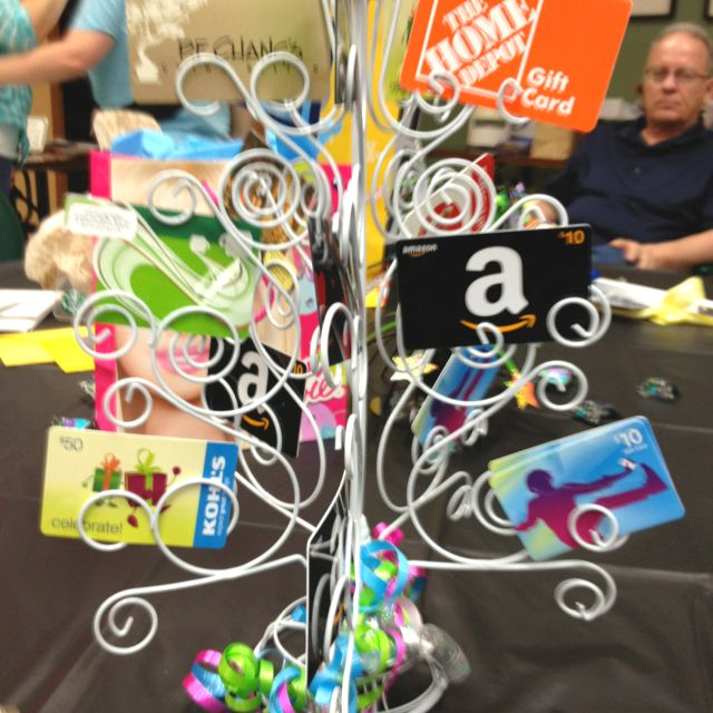 """A """"money tree"""". A great idea for group gifts.  You can use it to put pictures on, etc, when the gift cards are all used up."""