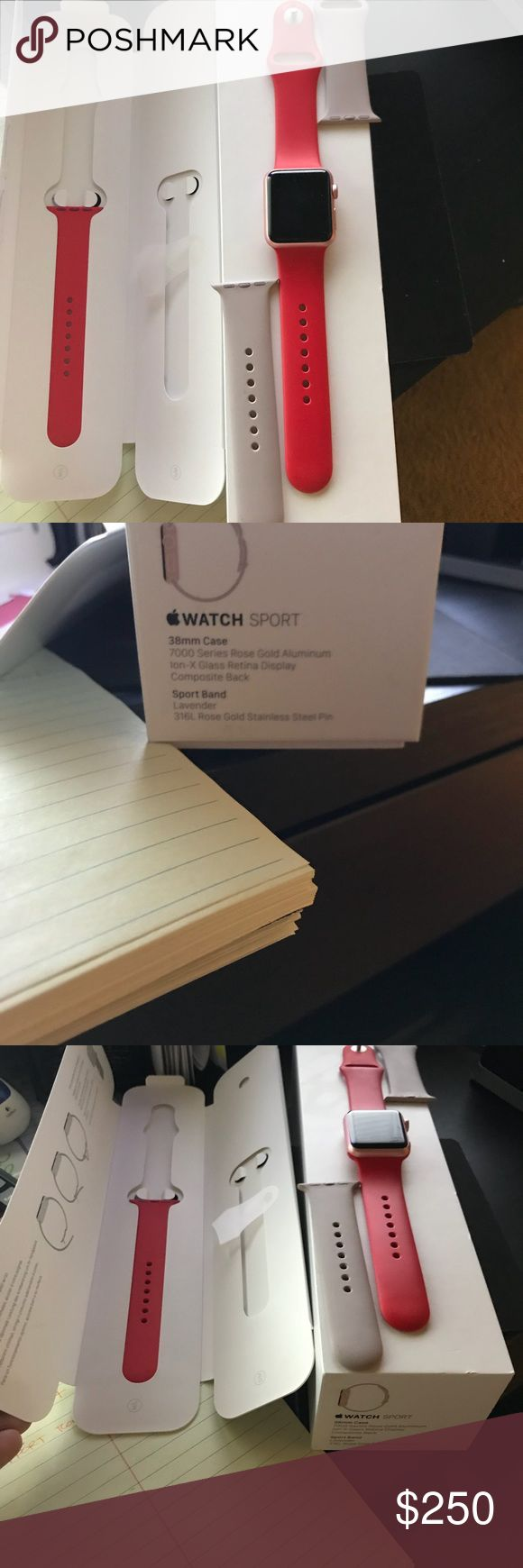 Apple Watch Sport - Rose Gold - 38mm Apple Watch Sport - Rose Gold 38mm 1st Gen - NO TRADES!! - Like new - Unlocked - Reset - Still has Apple Care coverage - Comes with all original items and packaging. Including the Product Red Watch Bands I bought as well in the price (originally $49). Please don't ask to trade. Please don't ask about other sites. No haggle. Take it or leave it. Accessories Watches