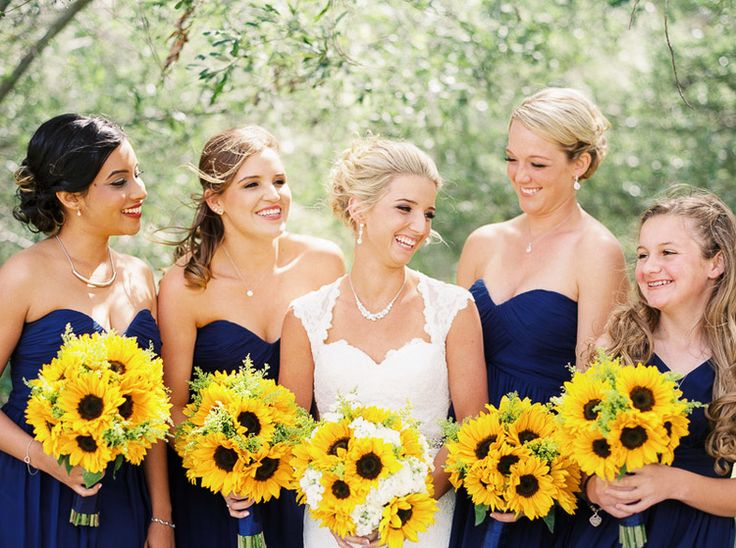 Blue Bridesmaids and Yellow Bouquets!