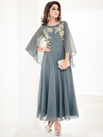 Arihant Gray Georgette Embroidered Kurti #Kurti #Embroidered #Georgette