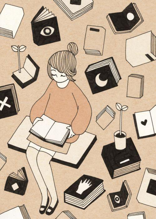 """""""La lectura debe ser una de las formas de la felicidad y no se puede obligar a nadie a ser feliz"""". #Borges   Ilustración: #RoseWong  ¡Buen domingo, mundo derrapero!"""