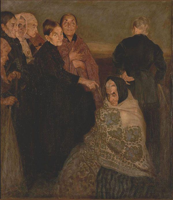 Felice Casorati, Le vecchie comari, 1908 circa, olio su tela, cm 131 x 116, Galleria d'Arte Moderna Achille Forti