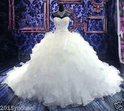 New Bride White/Ivory Wedding Dress A-Line Organza Bridal Gown Custom Size 4-26+