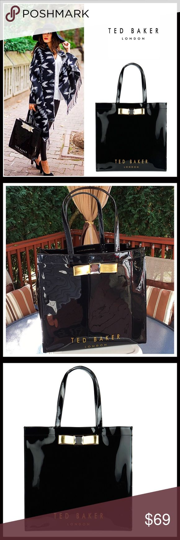 """⭐️⭐️ TED BAKER LONDON PATENT BOW TOTE BAG TED BAKER LONDON PATENT BOW TOTE BAG  SIZING- 14.5"""" W x 14"""" H x 3.5"""" D NEW W/TAGS COLOR- Black  * Open top * Smooth patent construction * Dual top handles' Approx 8"""" handle drop * Interior- 1 zip wall pocket * High quality & well made; MATERIAL- * Front exterior bow detail MATERIAL- PVC NO TRADES * BUNDLE DISCOUNTS * OFFERS CONSIDERED ITEM# SEARCH # mini - bucket shoulder saddle Ted Baker London Bags Totes"""