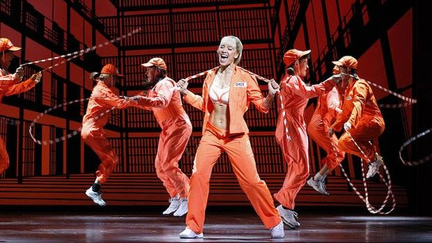 Erika Heynatz staring in Legally Blonde the musical in the song Whip It Into Shape. Her ability to do an energetic dance/skipping routine then belt out huge notes at the end of the song is amazing.
