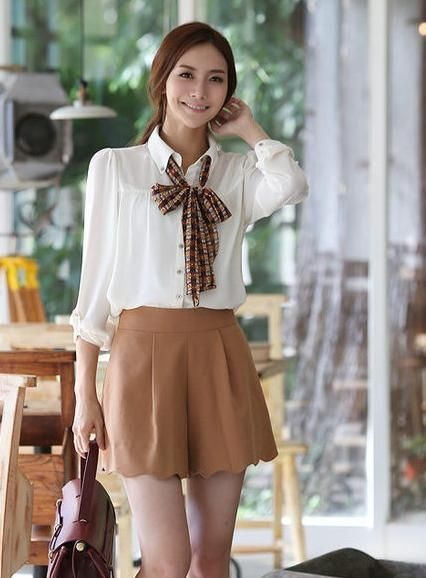White Chiffon Causal Office Lady Asian Trendy Shirt with Checkered Scarf 1