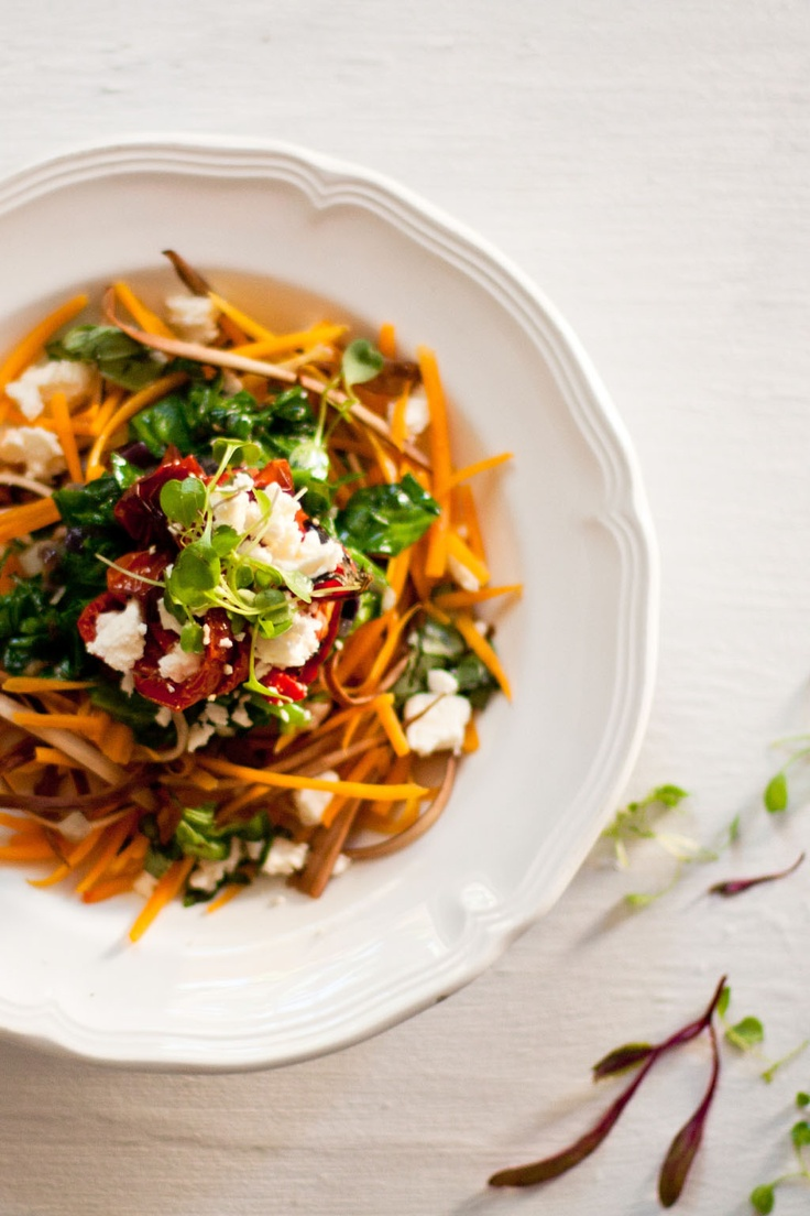 """Butternut and aubergine """"spaghetti"""" with roasted tomatoes and feta. #carb-free. From Crush Online Magazine"""
