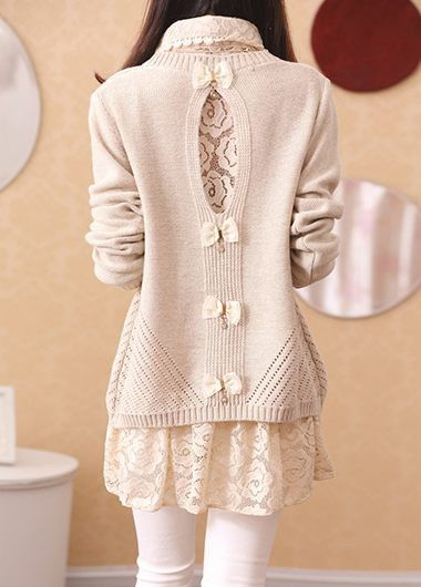 Turndown Collar Lace Blouse and Beige Sweater  on sale only US$36.47 now, buy cheap Turndown Collar Lace Blouse and Beige Sweater  at lulugal.com