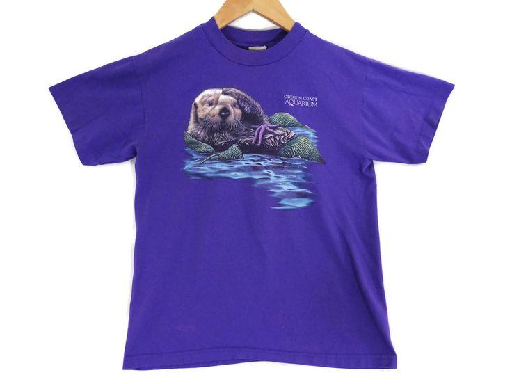 VTG 90s Oregon Coast Aquarium T-Shirt - XS Mens - Small Womens - Sea Otter - Marine Life - Marine Biology - Vintage Tee - Vintage Clothing - by BLACKMAGIKA on Etsy