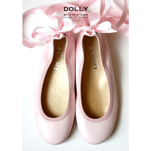 DOLLY by Le Petit Tom BALLERINA'S 1GB LIGHT PINK leather ($93) ❤ liked on Polyvore featuring shoes, leather shoes, ribbon ballet shoes, mary-jane shoes, ribbon shoes and vintage shoes