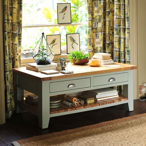 Caldecote French Grey Coffee Table with Drawers (C319) with Free Delivery | The Cotswold Company