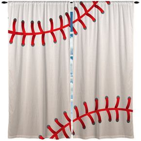 Baseball Window Curtain or Valance Custom Made by 2CoolDesignsInc