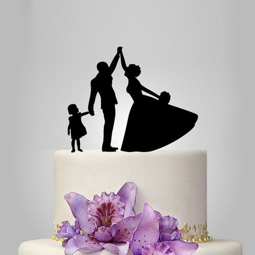 Bride And Groom Silhouette Acrylic Wedding Cake Topper Funny Family