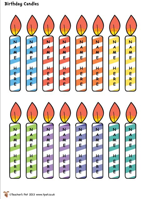 FREE editable birthday candles for matching birthday cupcakes