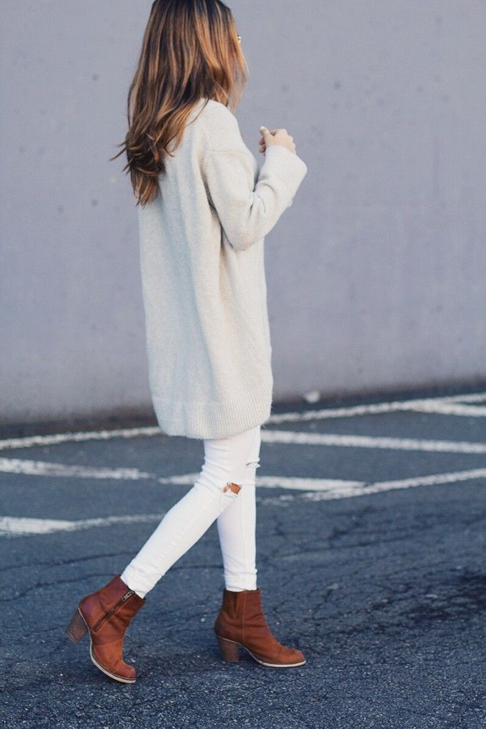 all white with brown boots
