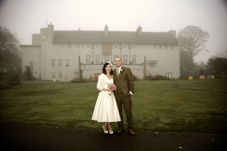 The vintage wedding of Claire and Robbie on a misty winter's day in Glasgow in the unique and beautiful setting of House for an Art Lover.  Photography by Gavin Macqueen.