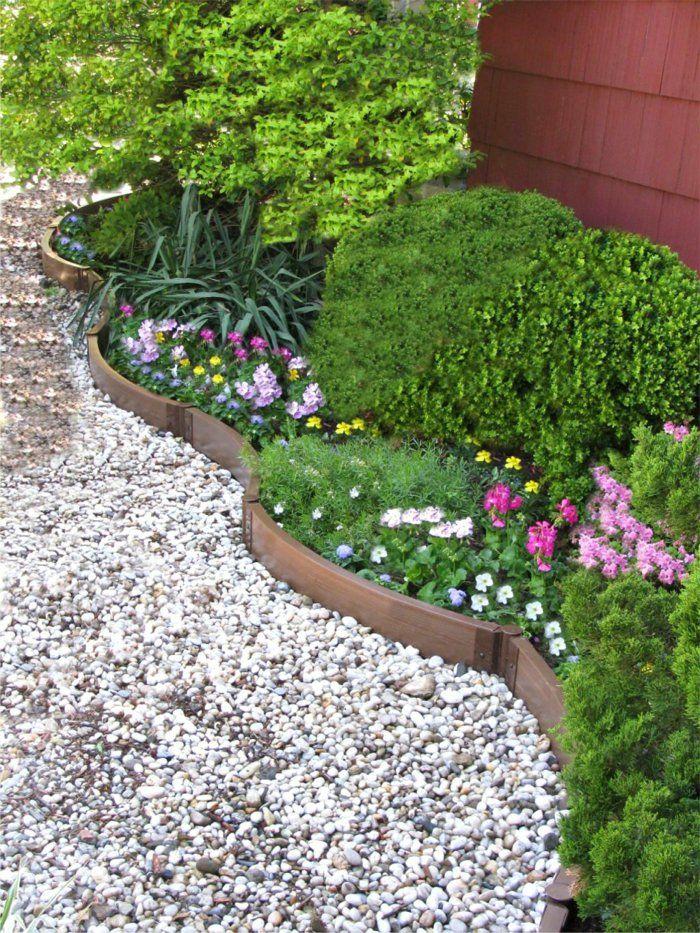 gartengestaltung mit kies weie kieselsteine beetkanten blumen - Gartengestaltungsideen Mit Kies