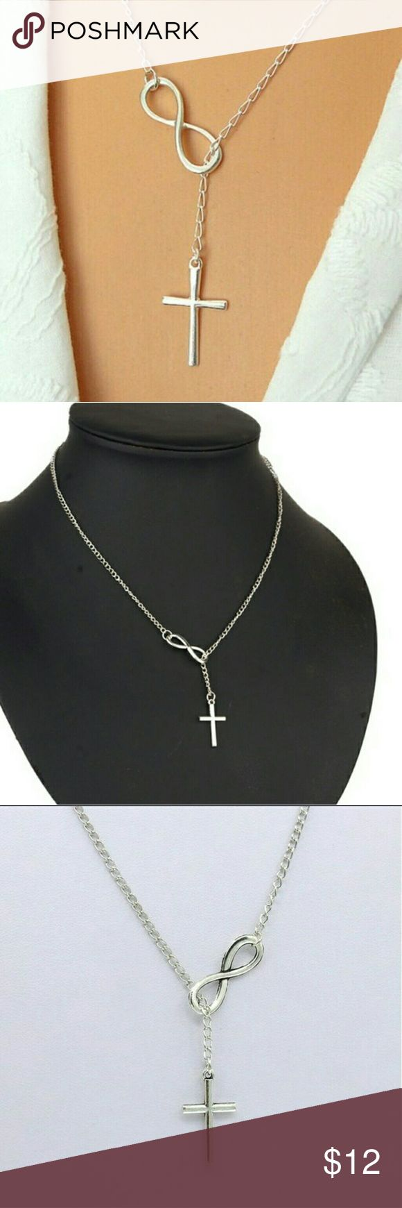 Infinity Cross Necklace  Silver Infinity Cross Necklace .925 Sterling Silver simply beautiful.  You can wear it everyday or on special occasions.  Great gift any age girl would love.  20 inch chain luxury Brand Jewelry Necklaces