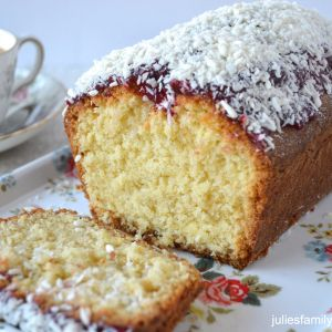 Coconut and Raspberry Jam Loaf Cake - Julie's Family Kitchen